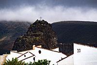 Village of Agaeta in front of mountain Dedo de Dios, Gran Canaria.