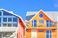 Colorful house facade, Goyave, Guadeloupe, Caribbean Islands, France.