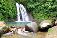 Crawfish waterfall, Guadeloupe National Park, Guadeloupe, Caribbean Islands, France.
