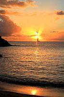 Petite anse beach at sunset, Guadeloupe, Basse-Terre, Caribbean islands, France.
