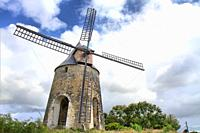 Well preserved ancient windmill, Grande-Terre, Guadeloupe, Caribbean islands, France.