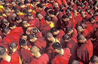 Buddhist monks praying, Boudhanath, Katmandu, Nepal, Asia.