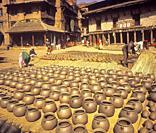 Pottery, Potterry Square, Bhaktapur, Nepal, Asia.