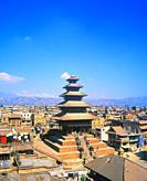 View of Taumadi Tole, Nyatapola Buddhist Temple, Bhaktapur, Nepal, Asia.