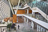 Interior of Shenzhen Library at Shenzhen Cultural Center. Shenzhen, Guangdong Province, China.