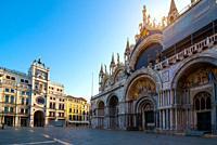 Church and Zodiac clock on San Marco square in Venice.