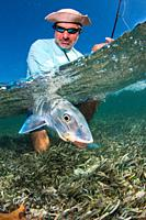 saltwater fly fishing Over/under off man hold a BIG BONEFISH underwater los roques venezuela.