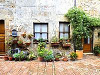Stone house facade in the town of Sovana - Tuscany, Italy.
