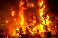 Fallas festival. La Crema. The Burning. On 19 March all of the sculptures go up in flames. Burning in the St Joseph night. Valencia. Valencian Communi...