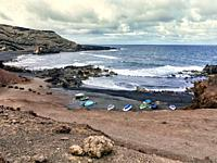 The Golfo beach on a cloudy day. Lanzarote. Canary Islands. Spain. Europe.
