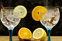 Two gin tonics on blue glass with lemon slice and orange slice, lemon and orange fruit and cinnamon sticks on wooden table and dark backdrop midplane.