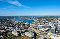 Seattle, WA - June 4, 2019: View of Lake Union during a Spring day as seen from the top of the Space Needle facing North.