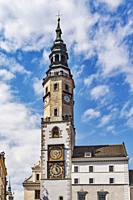 The Old Town Hall is located on the Untermarkt (Lower Market square). The Town Hall Tower is 63 meters high, Goerlitz, Saxony, Germany, Europe.