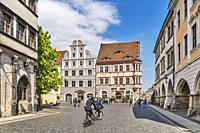 The Alte Ratsapotheke (pharmacy) is a Renaissance building and is located at Untermarkt (Lower Market square) in Goerlitz, Saxony, Germany, Europe.
