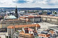 View over the Neumarkt to Altmarkt Dresden. There is the tower of the Kreuzkirche (Church of the Holy Cross), Dresden, Saxony, Germany, Europe.