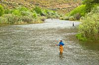 Flyfishing in Lower Owyhee River canyon, Vale District Bureau of Land Management, Oregon.
