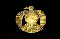 Bird-shaped gold plate belonging to Inca Empire. Museum of the Americas, Madrid, Spain.