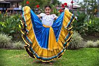 Local dances in La Fortuna village, Alajuela province, Costa Rica, Central America.