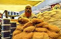 Guwahati, Assam, India. May 21, 2019. Muslim vendor selling vermicelli and other dry fruits at a market stall as Ramadan, fasting period of Muslims is...