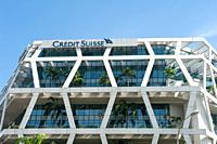 Singapore, Republic of Singapore, Asia - Modern Credit Suisse bank building at Changi Business Park.