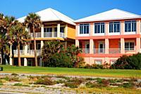 Colorful homes reflect the sunny feeling of Pensacola, Florida.