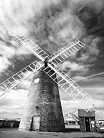 An infrared image of Medmerry Mill windmill at Selsey, West Sussex, England.