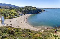 France, Pyrenees Orientales, Cote Vermeille, Argeles sur Mer, Ouille beach and littoral path.