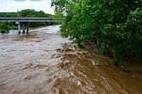 Shoal Creek flooding in Joplin, Missouri on May 23, 2019 from Redings Mill Bridge.