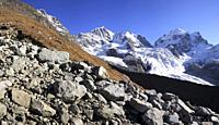 Panorama of Peaks Bernina Scerscen and Roseg Engadin Canton of Graubunden Switzerland Europe.
