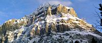 Panorama of the rocky peaks Mittellegi and Hornli Bernese Oberland Canton of Bern Switzerland Europe.