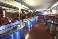 Steel storage tanks for the herb infusion in the cellar of Amaro Braulio, Bormio, Sondrio, Valtellina, Lombardy, Italy.