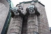 """Statues of the """"Lantern Carriers"""" by Finnish sculptor Emil Wikström. Helsinki Central Railway Station. Helsinki, Finland, Europe."""