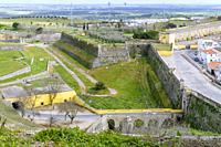 Sao Vicente Gate and Bulwark of Porta Velha, Garrison Border Town of Elvas and its Fortifications, Portalegre District, Alentejo Region, Portugal, Eur...