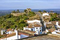 Monsaraz village with Sao Bento Chapel or Ermida de Sao Bento, Reguengos de Monsaraz Municipality, Evora District, Alentejo Region, Portugal, Europe.