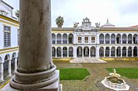Courtyard of the Former Colegio do Espirito Santo, University of Evora, Alentejo Region, Portugal, Europe.
