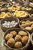 Natural sponges for sell at the harbor, Chania, Crete, Greek Islands, Greece, Europe