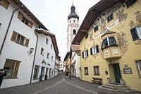 Castelrotto or Kastelruth village in Bolzano province Trentino- Alto Adigio Italy on April 14, 2019.