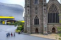 The church of St Martin in the Bullring and Selfridges building, Birmingham, England.