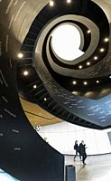 double spiral staircase in central library oodi. Helsinki. Finland.