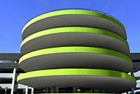 A downtown, circular, green, parking garage, Kitchener, Ontario, Canada.