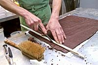 organic craftsman chocolate frigoulette, final phase for this preparation. Beaufort on Gervanne. the drome, france.