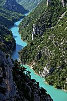 canoe on the gorges of the verdon. Moustier Sainte Marie, Alpes-de-Haute-Provence, France.