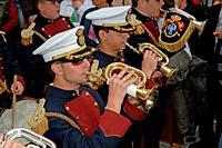 Holy Week. Brotherhood of La Palma. Music band (cornets and drums). Cadiz. Region of Andalusia. Spain. Europe.