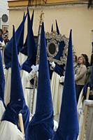 Holy Week. Brotherhood of La Palma (Nazarenes). Cadiz. Region of Andalusia. Spain. Europe.