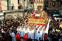 Holy Week. Brotherhood of The Last Supper. Malaga. Costa del Sol. Region of Andalusia. Spain. Europe.