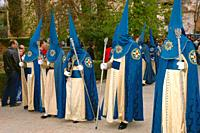 Holy Week. Brotherhood of La Alhambra (Nazarenes). Granada. Region of Andalusia. Spain. Europe.