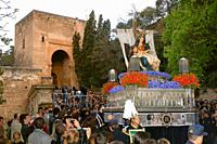 "Holy Week. Brotherhood of La Alhambra (""paso""and Door of Justice ). Granada. Region of Andalusia. Spain. Europe."