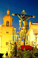 Holy Week. Brotherhood of La Vera Cruz. Jesus Christ crucified. Cadiz. Region of Andalusia. Spain. Europe.