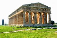 Greek temple, Temple of Neptune in Paestum, Campania, Italy, Europe.