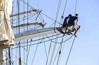 Las Palmas, Gran Canaria, Canary Islands, Spain. 18th December 2018. Crew of Norwegian tall ship Christian Radich on the rigging.